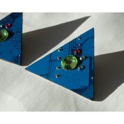 Furtive18148 - boucles d'oreilles bijou fantaisie - circuit imprimé bleu