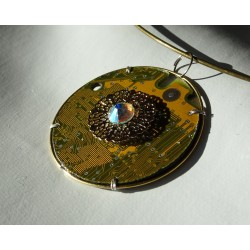 Capricieuse 18127 - pendentif bijou fantaisie - circuit imprimé doré