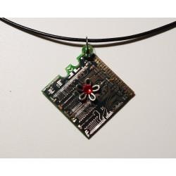 Capricieuse 18163 - pendentif bijou fantaisie - circuit imprimé doré