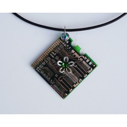 Capricieuse 18165 - pendentif bijou fantaisie - circuit imprimé doré
