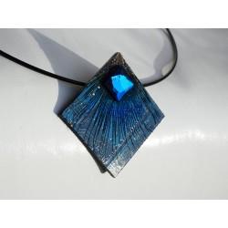 furtive18178 - pendentif bijou fantaisie - circuit imprimé bleu